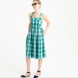J. Crew | Gingham Green Karina Sun Dress | Size 14